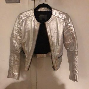 Muubaa Mao Collar Silver Metallic Leather Jacket